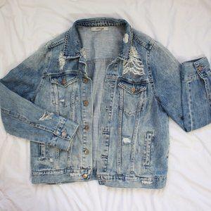 Refuge Distressed Denim Jacket Medium